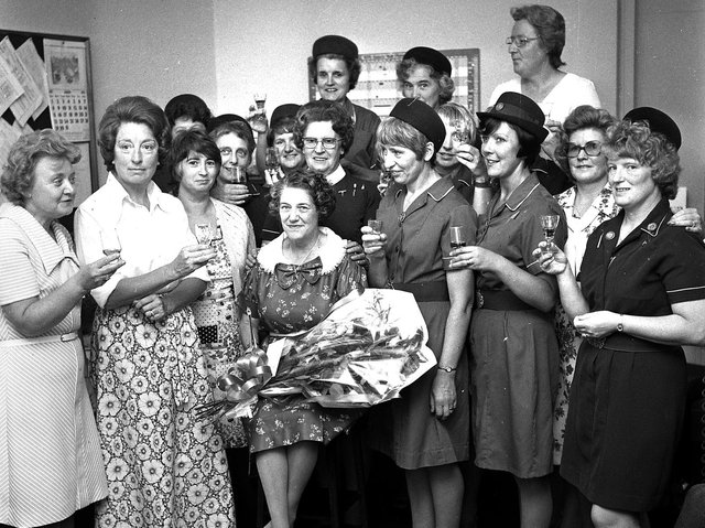 District Nurse Sister Lee retires and is pictured with her colleagues for a farewell toast in 1976
