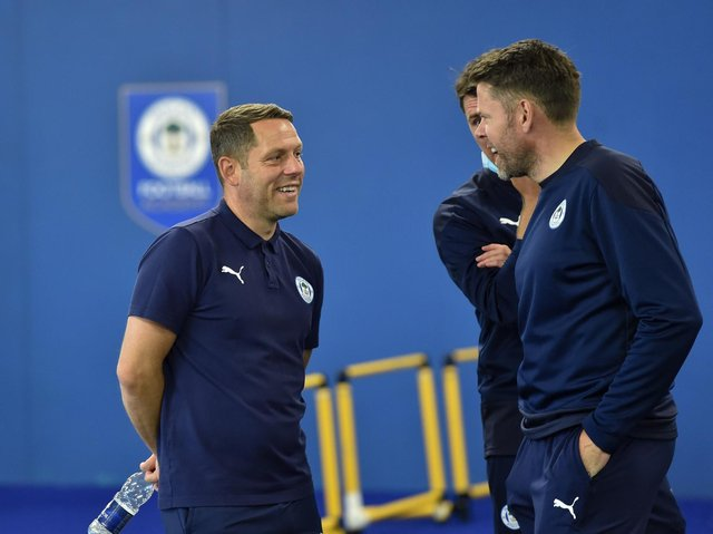 Leam Richardson and James Beattie in pre-season training