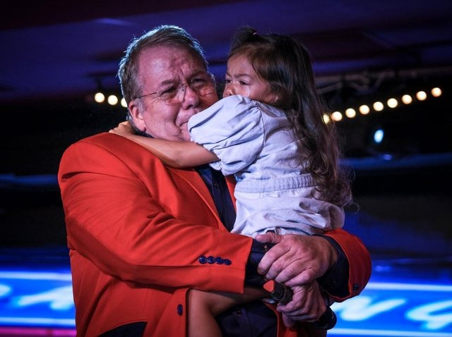 Olivia, four, was in tears as her dad, the resort comic Joey Blower, 58, welcomed her on stage at Viva Blackpool, at the end of his last show before flying abroad for cancer treatment in Prague, on Saturday, July 3, 2021 (Picture: Martin Bostock for The Gazette)