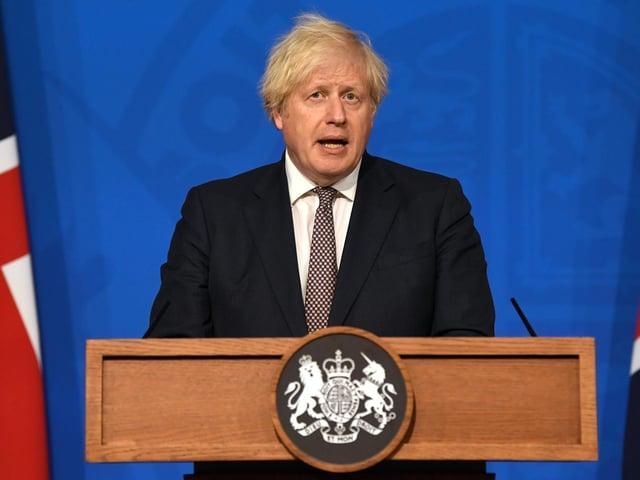 Prime minister Boris Johnson making his announcement