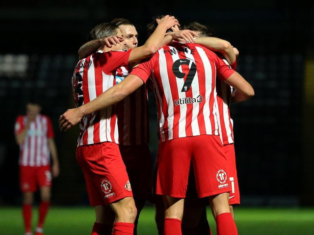 Max Power congratulates Charlie Wyke after scoring for Sunderland