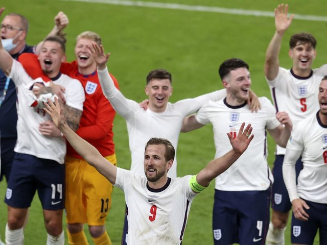 Matchwinner Harry Kane at the centre of the celebrations as England reach their first European Championship final