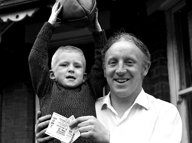 Jackie Edwards with son Shaun, who would become a Wigan RL legend, ready for the Challenge Cup Final game at Wembley Stadium in May 1971