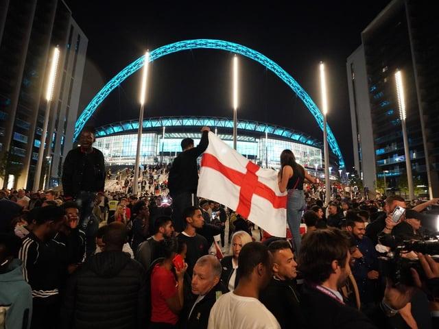Patriotic celebrations after England's Euros semi-final win over Denmark