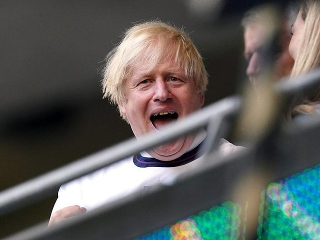 Prime minister Boris Johnson in the stands during the UEFA Euro 2020 semi final match at Wembley