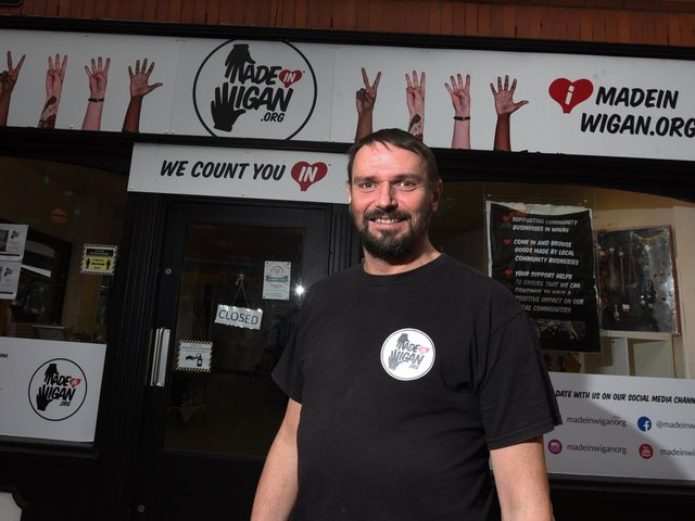 David Baxter outside the Made In Wigan shop in the town centre