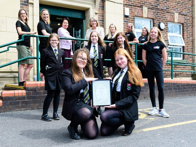 Staff and pupils at Bedford High School with the Artsmark Platinum Award