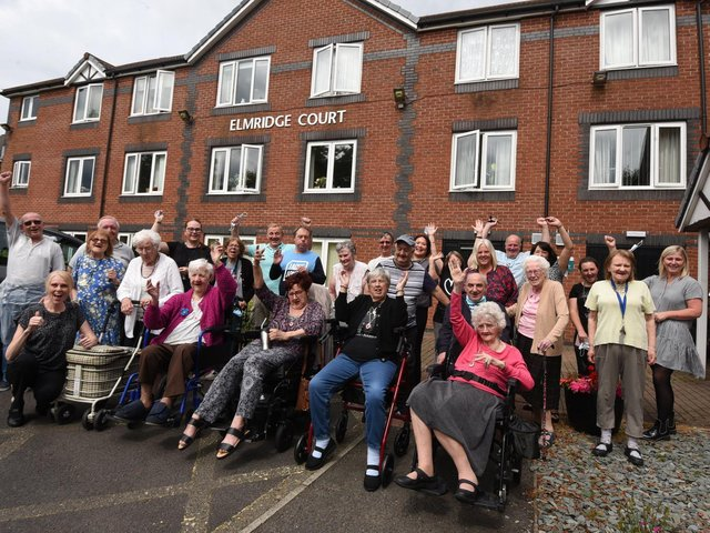 Staff and residents at Elmridge Court celebrating the Most Innovative Setting award