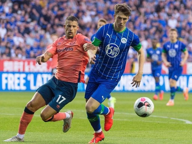 Jensen Weir in action for Latics against Everton