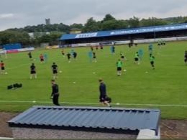 The Latics squad are put through their paces in the picturesque surroundings of Kilsyth Rangers' Duncansfield ground