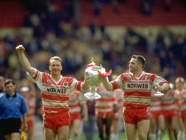 3 May 1992:  Dean Bell (left) and Martin Dermot of Wigan celebrate with the trophy after the Challenge Cup final against Castleford at Wembley Stadium in London. Wigan won the match 28-12.