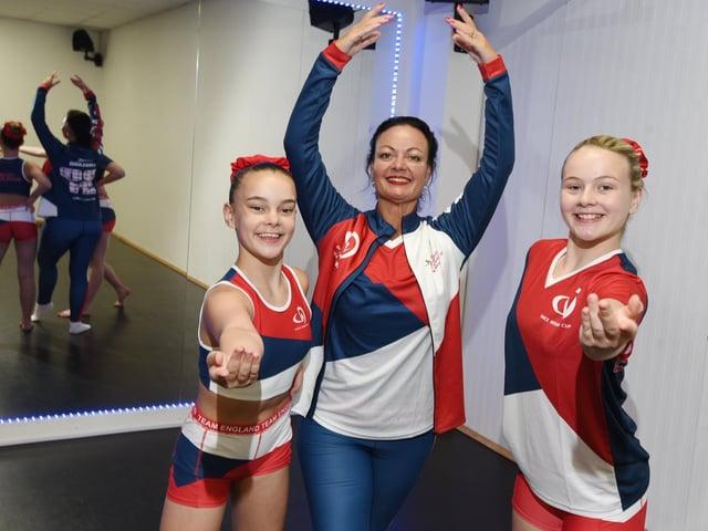 Ellie-Rose Fenney, dance teacher Jennifer Fenney and Lexi Dermott-Denton