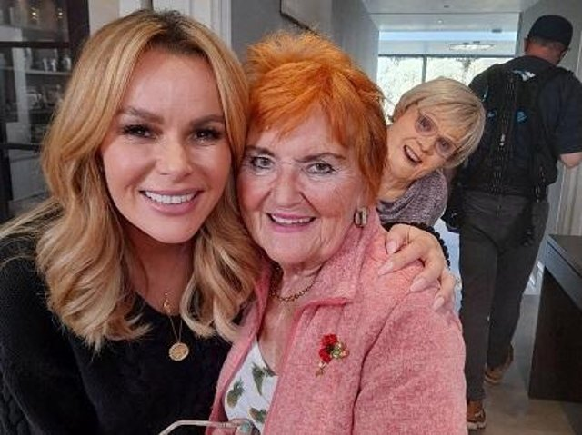 Amanda Holden and Pam Shaw with 'Nan' in the background