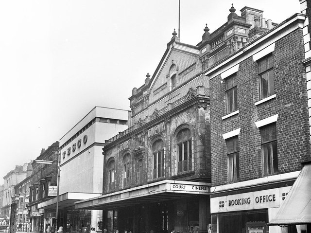 The Court Cinema on King Street, Wigan, which was due to close in September 1973. The Court had been a picture house for 33 years and the last film shown was The Sound of Music. To the left is the architecturally out of place Tesco supermarket