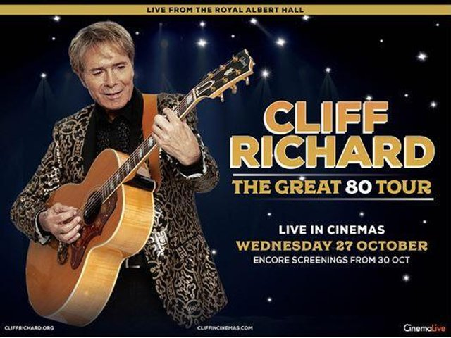 Sir Cliff's live concert will be shown at the Empire cinema in Wigan