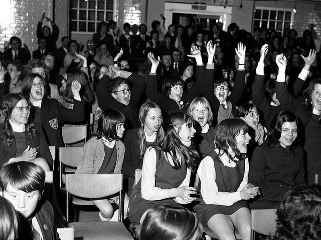 Cheers for Wigan's Deanery High School award -winning artists in 1972
