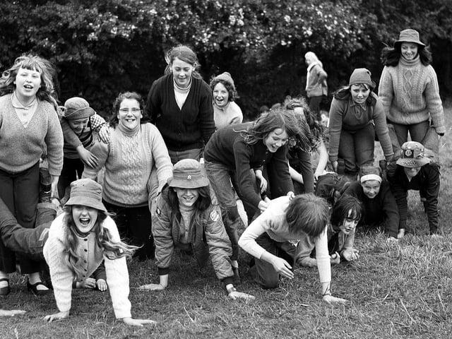 Queen's Hall Girl Giude pack practice for the wheelbarrow races in 1972