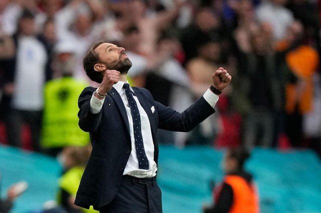 England's coach Gareth Southgate celebrates his team's victory at the end of the UEFA EURO 2020 round of 16 match against Germany.